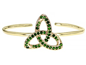Chrome Diopside 18K Yellow Gold Over Silver Trinity Knot Cuff Bracelet 1.30ctw