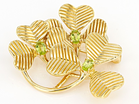Peridot 18K Yellow Gold Over Sterling Silver Shamrock Sprig Brooch  0.61ct