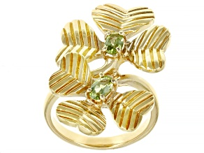 Peridot 18K Yellow Gold Over Sterling Silver Sprig Ring 0.41ctw