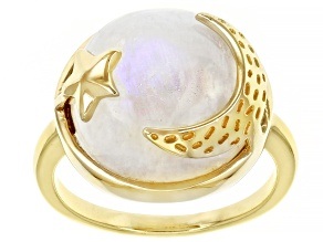 Rainbow Moonstone 18K Yellow Gold Over Sterling Silver Moon & Star Ring