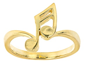 18K Yellow Gold Over Sterling Silver Music Note Ring