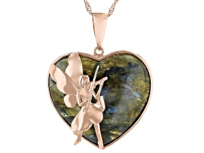 """Labradorite 18K Rose Gold Over Silver Fairy Motif Pendant With 18"""" Chain"""