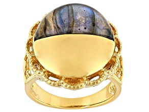 Labradorite 18K Yellow Gold Over Silver Moonlight Over the Countryside Ring