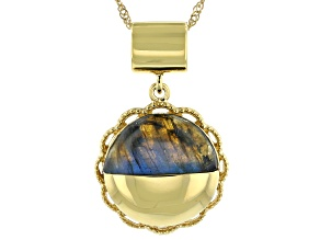 Labradorite 18K Yellow Gold Over Silver Moonlight Over the Countryside Pendant With Chain