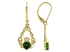Chrome Diopside 18K Yellow Gold Over Silver Claddagh Earrings 0.93ctw