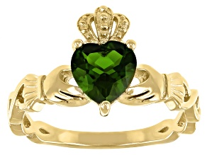 Chrome Diopside 18K Yellow Gold Over Silver Claddagh Ring 0.95ct
