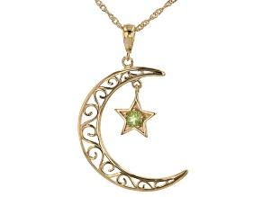 Peridot 18K Gold Over Silver Moon & Star Filigree Pendant W/ Chain 0.26ct