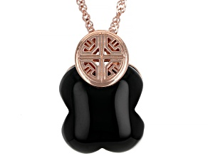 """Onyx 18K Rose Gold Over Sterling Silver Clover Pendant With 18"""" Chain"""