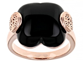 Onyx 18K Rose Gold Over Sterling Silver Clover Ring