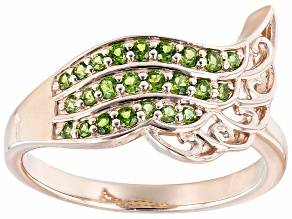 Chrome Diopside 18K Rose Gold Over Silver Feather Ring 0.28ctw
