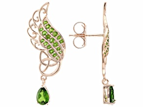 Chrome Diopside 18K Rose Gold Over Silver Feather Earrings 1.06ctw