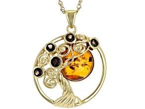 "Orange Amber & Smoky Quartz 18K Yellow Gold Over Silver Tree Of Life Pendant With 18"" Chain 0.80ctw"