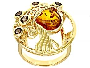Orange Amber & Smoky Quartz 18K Yellow  Gold Over Silver Tree Of Life Ring 0.49ctw