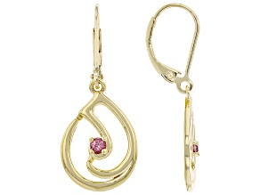 Color Shift Garnet 18K Yellow Gold Over Silver Music Note Earrings 0.15ctw