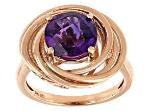 Amethyst 18K Rose Gold Over Silver Swirl Ring 2.30ct