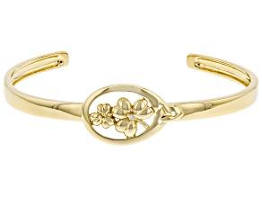 White Diamond Accent 18K Yellow Gold Over Silver Shamrock & Trinity Design Cuff Bracelet 0.01ct