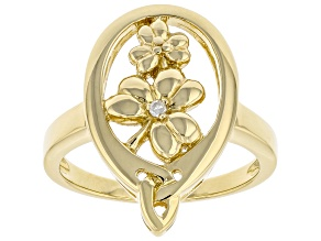 White Diamond Accent 18K Yellow Gold Over Silver Shamrock & Trinity Design Ring 0.01ct