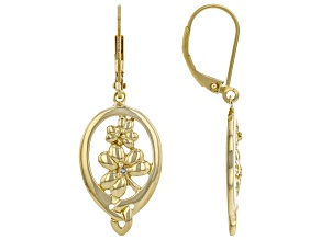 White Diamond Accent 18K Yellow Gold Over Silver Shamrock & Trinity Design Earrings 0.02ctw
