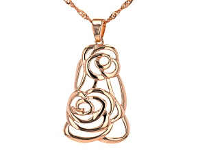 """18K Rose Gold Over Silver Floral Design Pendant With 18"""" Chain"""