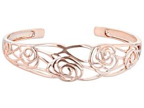 18K Rose Gold Over Silver Floral Design Cuff Bracelet
