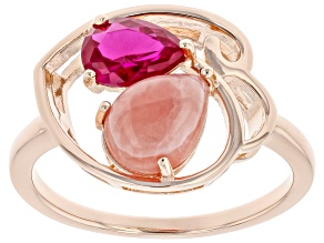 Rhodochrosite & Lab Created  Ruby 18K Rose Gold Over Silver Ring 0.66ct