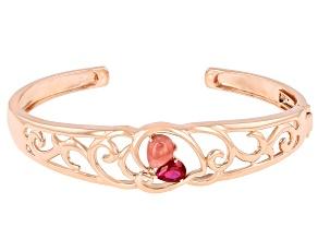 Pink Rhodochrosite & Lab Ruby 18K Rose Gold Over Silver Cuff Bracelet 1.00ct