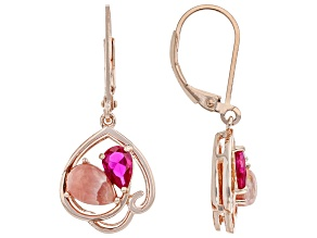 Rhodochrosite & Lab Created Ruby 18K Rose Gold Over Silver Earrings 0.77ctw
