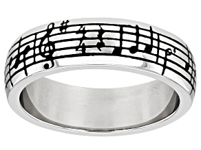 """Sterling Silver """"Danny Boy"""" Music Sheet Unisex Band Ring"""