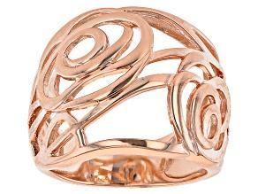 18K Rose Gold Over Silver Floral Design Ring