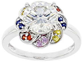 Moissanite And Multi-Color Sapphire Ring Platineve  2.70ct DEW.