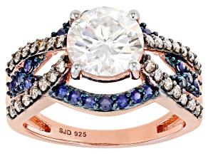 Moissanite with champagne diamond and blue sapphire 14k rose gold over silver ring 1.90ct DEW.
