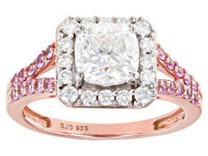 Moissanite and pink sapphire 14k rose gold over silver ring 1.66ctw DEW.