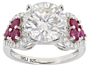 Moissanite and Burma ruby Platineve ring 4.56ctw DEW.