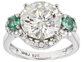 Moissanite and Zambian emerald Platineve ring 5.13ctw DEW.