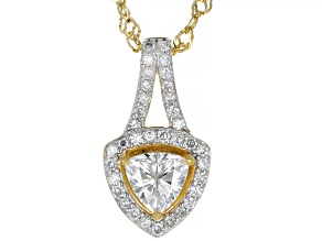 Moissanite 14k yellow gold over sterling silver pendant 1.05ctw DEW.