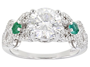 Moissanite and Zambian Emerald Platineve ring 2.66ctw DEW.