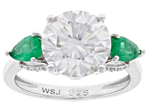 Moissanite and Zambian Emerald Platineve ring 3.82ctw DEW.