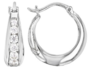 Moissanite Platineve Hoop Earrings 2.04ctw D.E.W