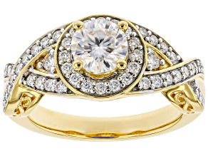 Moissanite 14k yellow gold over sterling silver ring 1.36ctw DEW.