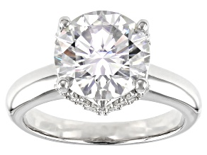 Moissanite Platineve Ring 3.92ctw DEW.