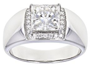 Moissanite Platineve Gents Ring 2.74ctw DEW