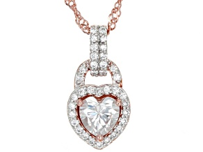 Moissanite 14k rose gold over sterling silver pendant 1.19ctw DEW