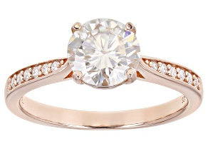 Moissanite 14k rose gold over sterling silver ring 1.64ctw DEW