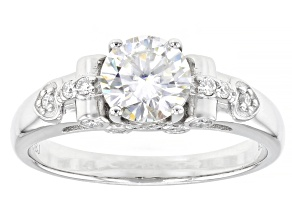 Moissanite Platineve Ring 1.22ctw DEW.
