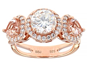 Moissanite and morganite 14k rose gold over sterling silver ring 2.02ctw DEW