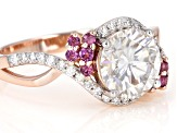 Moissanite and rhodolite 14k rose gold over sterling silver ring 2.20ctw DEW.