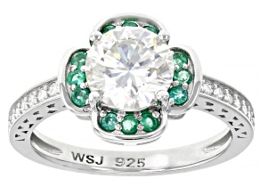 Moissanite and Zambian emerald platineve ring 1.64ctw DEW.