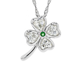 Moissanite and Zambian emerald platineve clover pendant 2.00ctw DEW.