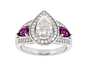 Moissanite and grape color garnet platineve ring 1.93ctw DEW.