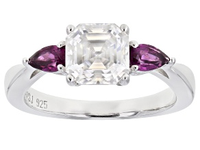 Moissanite and grape color garnet platineve ring 1.85ct DEW.